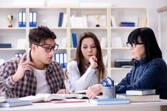 The young student and teacher during tutoring lesson. Young student and teacher during tutoring lesson Royalty Free Stock Photo