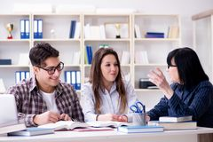 The young student and teacher during tutoring lesson. Young student and teacher during tutoring lesson Stock Photo