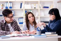 The young student and teacher during tutoring lesson. Young student and teacher during tutoring lesson Stock Image