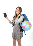 Young student tourist woman holding passport carrying backpack and world globe Stock Images