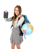Young student tourist woman holding passport carrying backpack and world globe Stock Photography