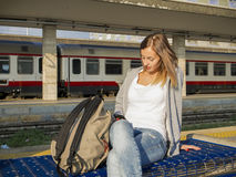 Young student in train station Stock Photography