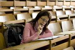 Young student at the university during exam Royalty Free Stock Photos