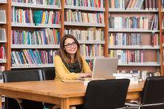 Young Student Using His Laptop In A Library. In The Library - Beautiful Female Student With Laptop And Books Working In A High School - University Library Stock Images