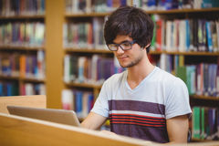 Young student using his laptop in library. Young student using his laptop in college library Royalty Free Stock Photography