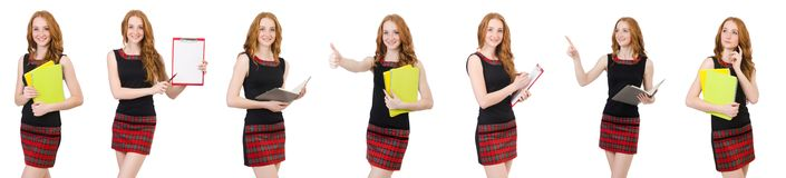 Young student in various poses isolated on white Stock Photography