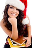 Young student wearing christmas hat Stock Image
