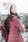 Young Student with Winter Clothes at The School Royalty Free Stock Photo