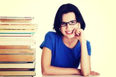 Young student woman with books Stock Photography