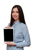 Young student. Student young woman business tablet technology computers presentation training screen to show the background white bright smile Royalty Free Stock Photo
