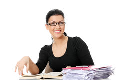 Young student woman learning at the desk Royalty Free Stock Photo