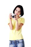 Young student woman with a photo camera Stock Image