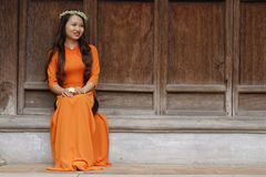 A young student woman poses in Temple of Litterature Stock Photography