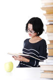 Young student woman studying at the desk Royalty Free Stock Photography