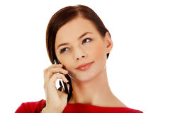 Young student woman talking through a mobile phone Stock Photography