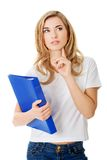 Young student woman thinking Stock Image