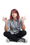Young student woman in yoga position. Over white Stock Photo