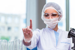 The young student working with chemical solutions in lab Royalty Free Stock Photos