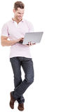 Young student working with laptop Stock Images