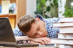 Young student working in a library. Portrait of a handsome smart student wearing blue checkered shirt sitting at the table in library and sleeping on his hands Stock Image