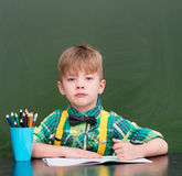 Young student writes in a notebook near empty green chalkboard.  Stock Photography
