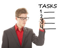 Young student writing tasks items isolated Royalty Free Stock Image
