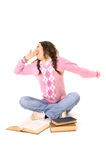 Young student yawning and stretch oneself Stock Images