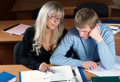 Young students. Two young man and woman as students royalty free stock images