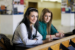 Young students. Two students waiting at the university Royalty Free Stock Image
