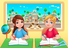 Young students boy and girl in the classroom Royalty Free Stock Image