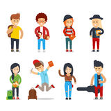 Young students cartoon characters. Happy people vector set. University or college group of young students. Lifestyle young people in street clothes style Royalty Free Stock Photography