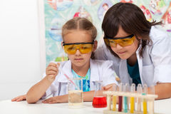 Young students in chemistry class. Doing the chemical yoyo experiment Stock Photography