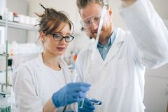Young students of chemistry working in laboratory Royalty Free Stock Image