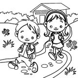 Young students coloring page Royalty Free Stock Images