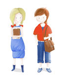 Young Students a Girl and a Boy Going to School. Vector illustration of two young students with books and a schoolbag Royalty Free Stock Photos