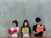 Young Students Group Smile Reading School Folders Book royalty free stock photography