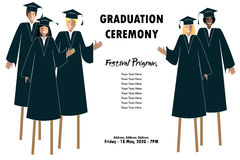 Young students guys and girls banner. Graduation festival border. Happy Graduates on stilts Royalty Free Stock Photo