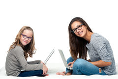 Young students with laptops. Stock Image