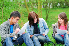 Young students learning outdoor stock image