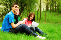 Young students learning outdoor Royalty Free Stock Photos