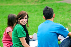 Young students learning outdoor Stock Photos