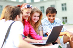 Young students lined Royalty Free Stock Image