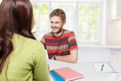 Young students multi etnic study together Royalty Free Stock Photos