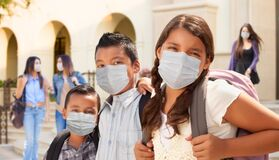 Free Young Students On School Campus Wearing Medical Face Masks Royalty Free Stock Image - 190266846