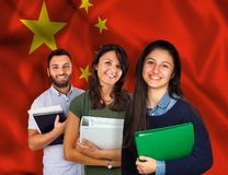 Young students over China flag Royalty Free Stock Photography