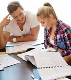 Young students preparing for exams Royalty Free Stock Image