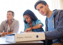 Young students preparing for exams Stock Image