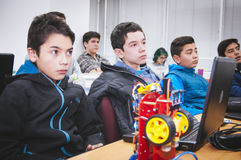 Young students. Santiago, Chile. July 21, 2017. Young unknown students in robotic laboratory Royalty Free Stock Photos