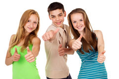 Young students show sign ok Stock Photos