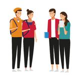 Young students friends royalty free illustration